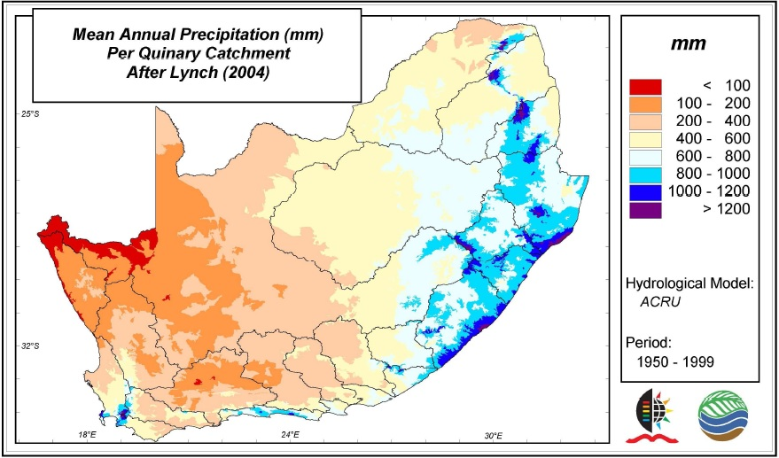 South Africa's Mean Annual Precipitation (MAP) (Source: Schulze 2011)