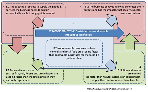 Figure 2: The System Map which contains 5 Principles - 3 environmental and 2 social.